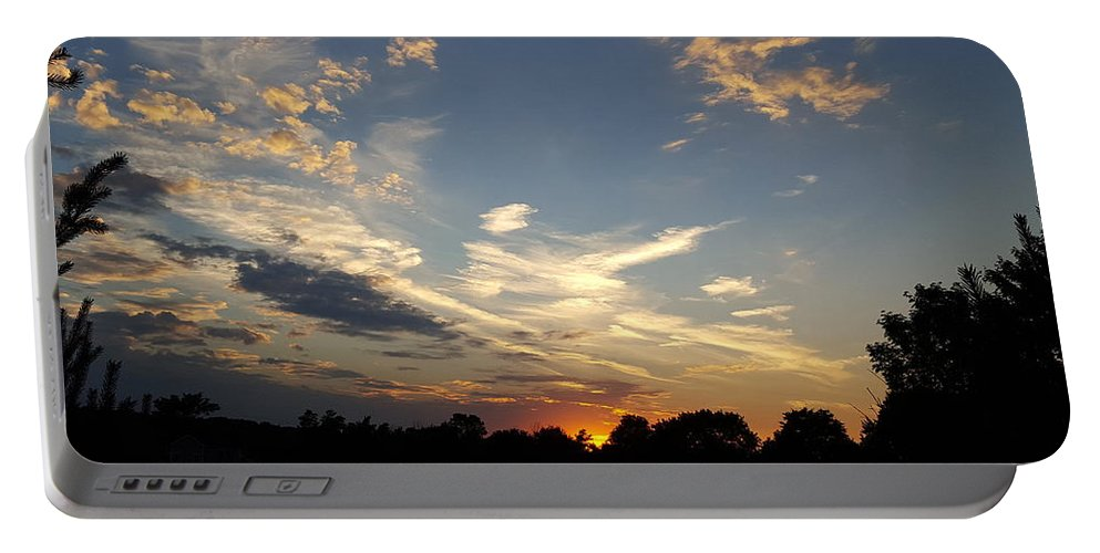 Sunset Portable Battery Charger featuring the photograph Sunset Sky Over Ohio by Maureen Ida Farley