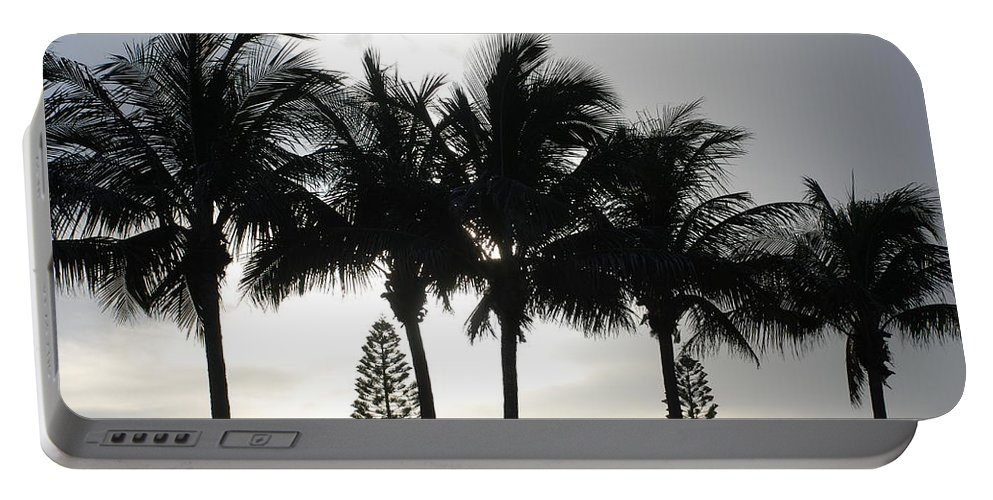 Sky Portable Battery Charger featuring the photograph Sunset Thru The Trees by Rob Hans