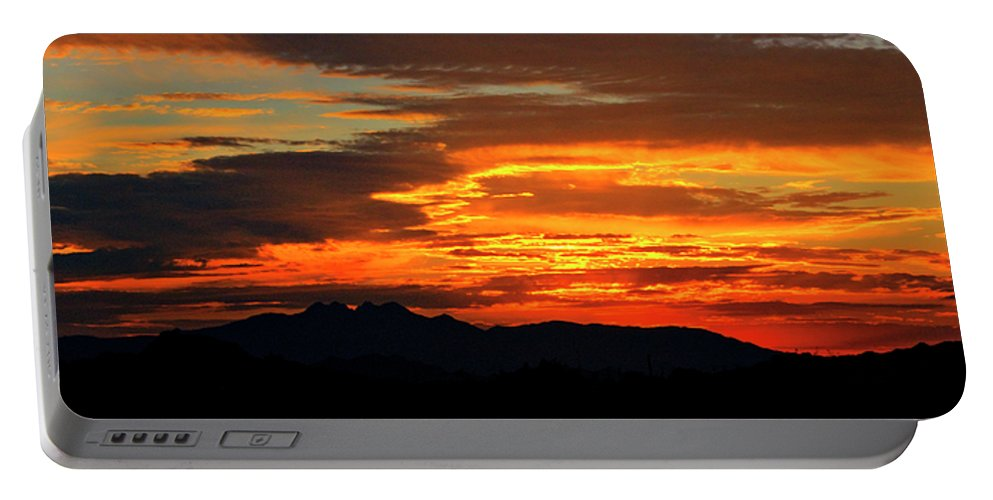 Sunrise Portable Battery Charger featuring the photograph Superstition Sunrise by Saija Lehtonen