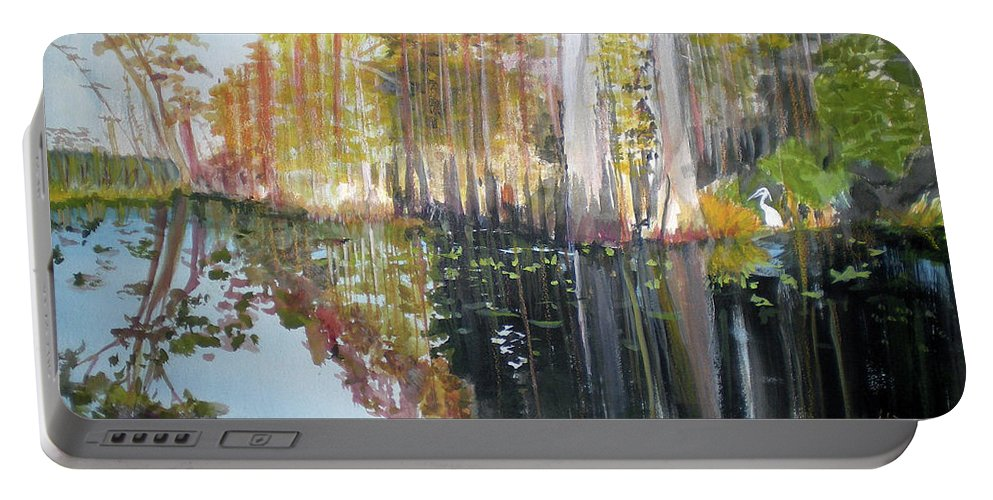 Landscape Of A South Florida Swamp At Dusk Feels Very Wild Portable Battery Charger featuring the painting Swamp Reflection by Hal Newhouser