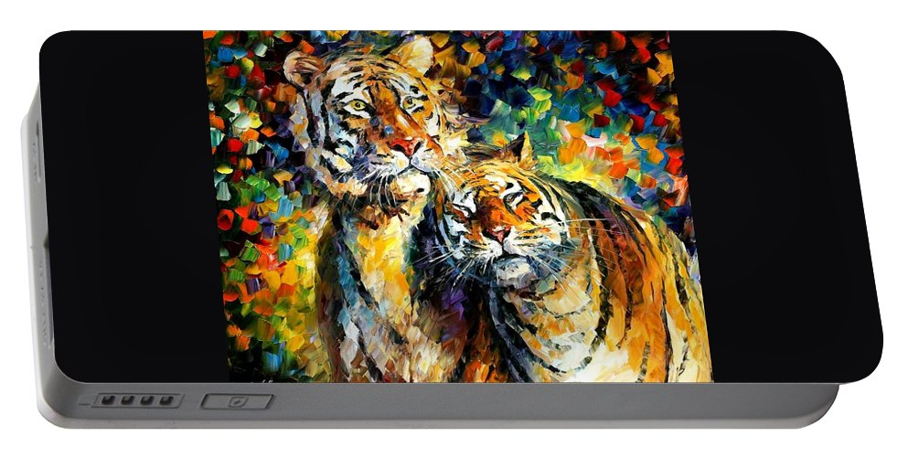 Afremov Portable Battery Charger featuring the painting Sweetness by Leonid Afremov