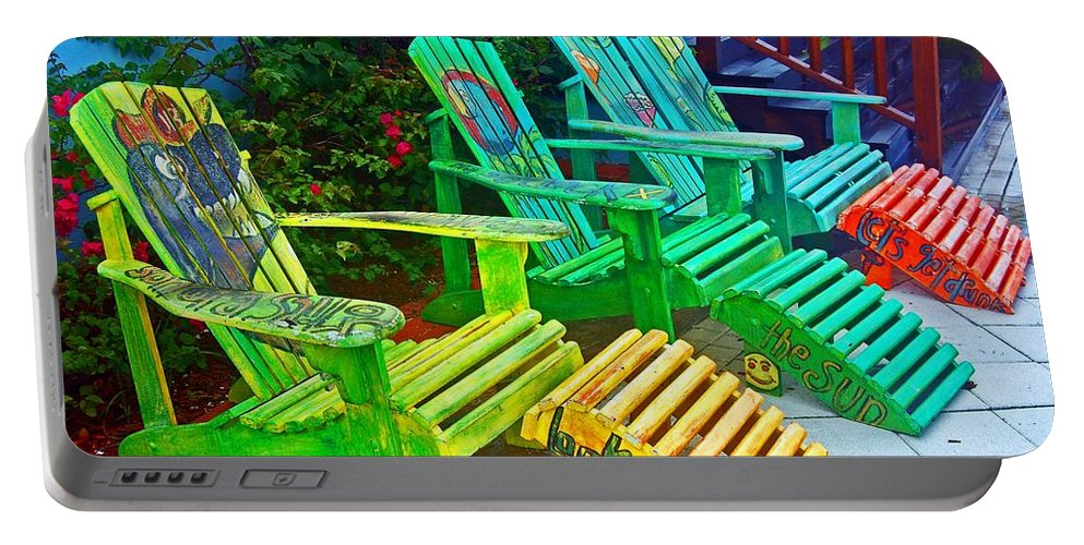 Chair Portable Battery Charger featuring the photograph Take A Break by Debbi Granruth