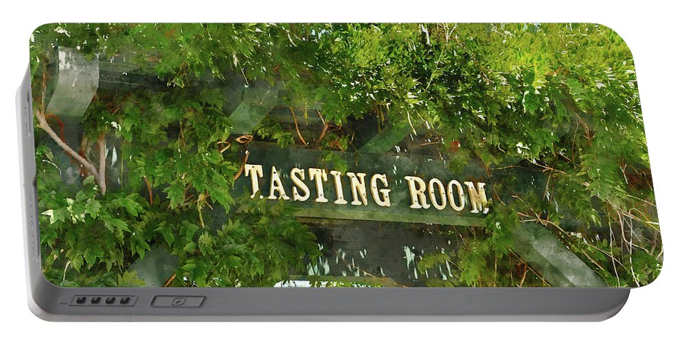 Green Portable Battery Charger featuring the photograph Tasting Room Sign by Brandon Bourdages