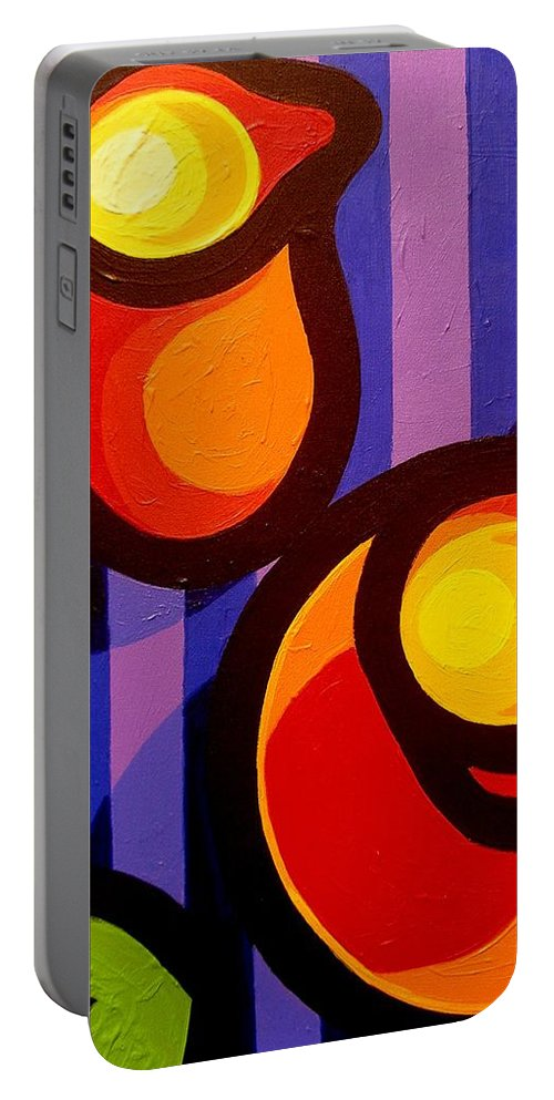 Expressionism Portable Battery Charger featuring the painting Tea And Apples by John Nolan