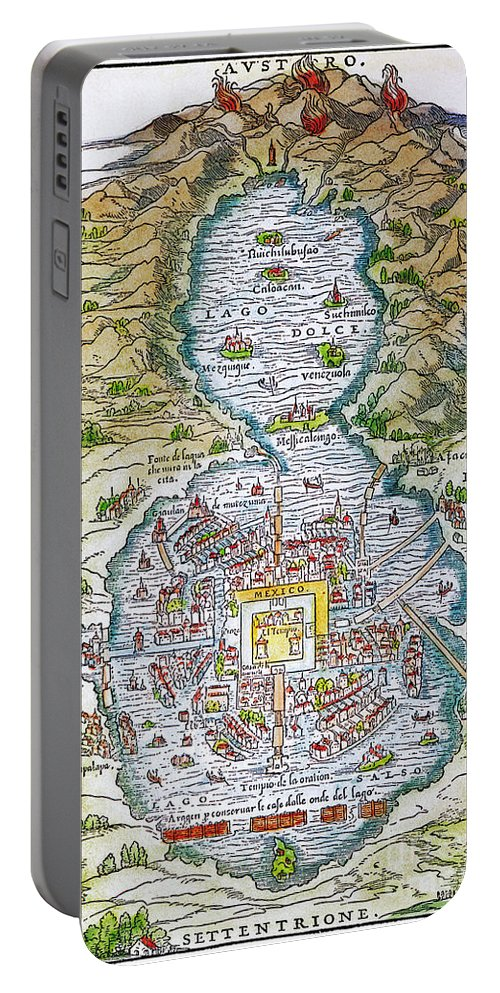 1556 Portable Battery Charger featuring the photograph Tenochtitlan (mexico City) by Granger
