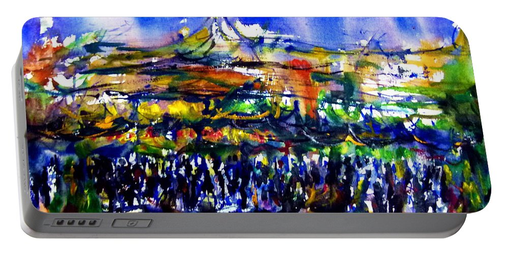 Portable Battery Charger featuring the painting That Night by Wanvisa Klawklean