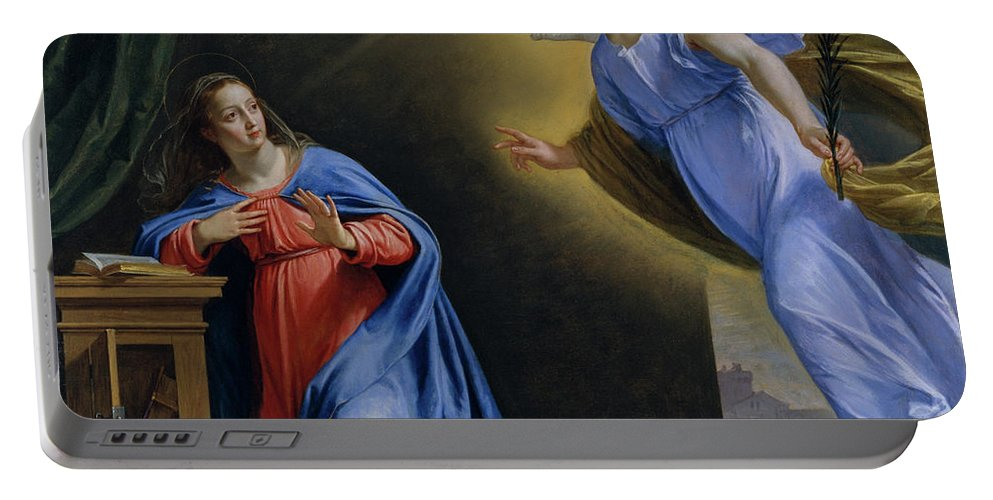 Angel Portable Battery Charger featuring the painting The Annunciation by Philippe de Champaigne