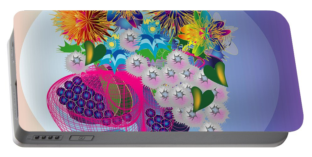 Flowers Portable Battery Charger featuring the digital art The Arrangement by George Pasini