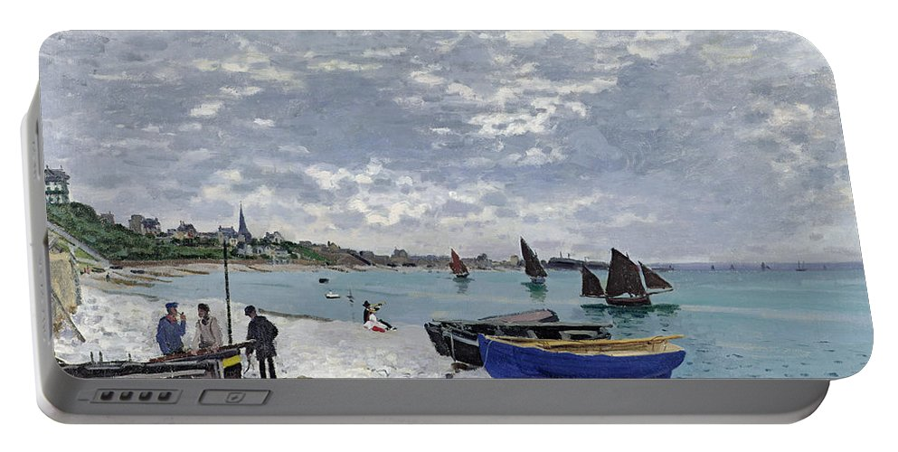 Coastal;french;rowing Boat;sailing;sainte Adresse; Boats Portable Battery Charger featuring the painting The Beach At Sainte Adresse by Claude Monet