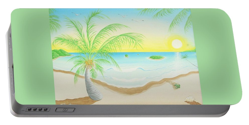 Caribbean Art/puerto Rican Art/seascape Art Portable Battery Charger featuring the painting The Beach by Jose Guerrido jr