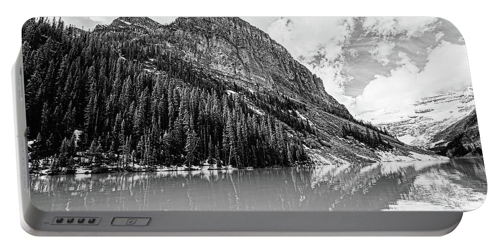 Lake Portable Battery Charger featuring the photograph The Beauty Of Lake Louise Bw by Scott Pellegrin