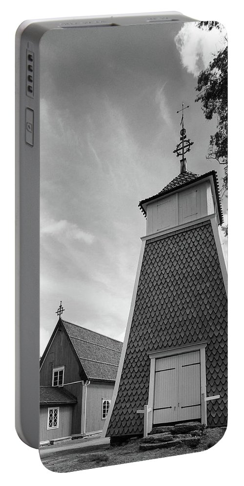 Finland Portable Battery Charger featuring the photograph The Bellfry And The Church Of Kustavi by Jouko Lehto