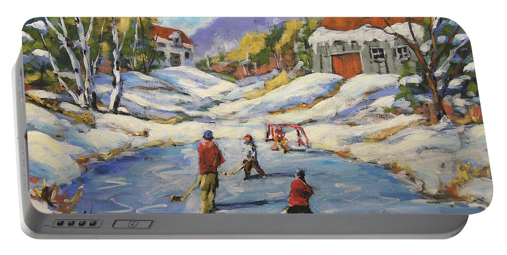 20x24x75 Portable Battery Charger featuring the painting The Break Away By Prankearts by Richard T Pranke
