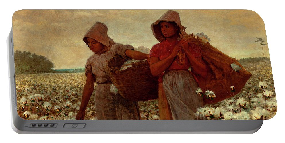 The Cotton Pickers Portable Battery Charger featuring the painting The Cotton Pickers by Winslow Homer