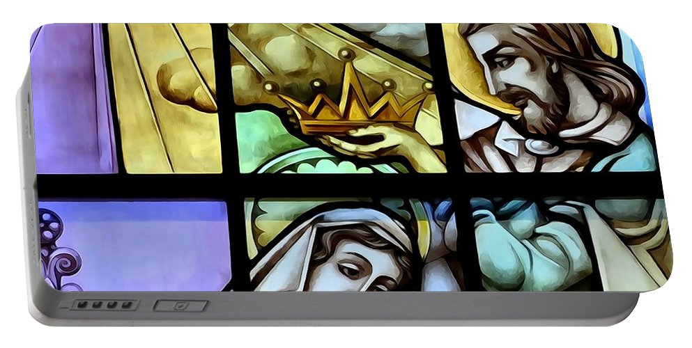 Stained Glass Windows Portable Battery Charger featuring the photograph The Crown by Ed Weidman