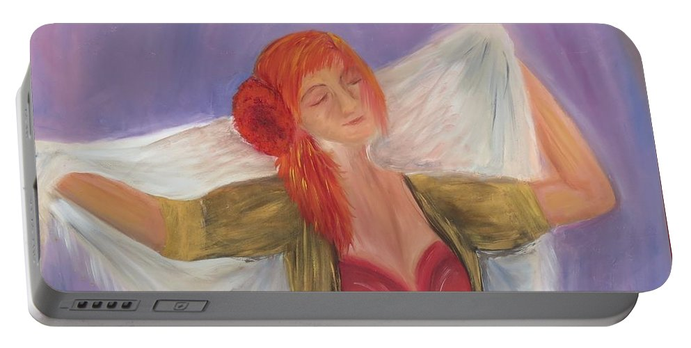 Dance Portable Battery Charger featuring the painting The Dancer by Taly Bar
