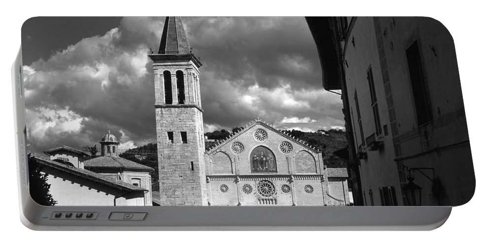 Campanile Duomo Facade Italian Italy Spoleto Umbria Cathedral Cathedrals Church Churches Cities City Famous Gothic Historic Medieval Mosaic Romantic Ose Windows Town Towns Photo Photos Photograph Photographs Portable Battery Charger featuring the photograph The Facade Of The Duomo With Mosaic And Eight Rose Windows And The Campanile Spoleto Umbria Italy by Michael Walters