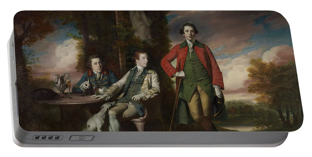 Animal Portable Battery Charger featuring the painting The Honorable Henry Fane With Inigo Jones And Charles Blair by Joshua Reynolds