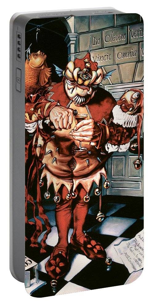 Jester Portable Battery Charger featuring the painting The Jesterook by Patrick Anthony Pierson