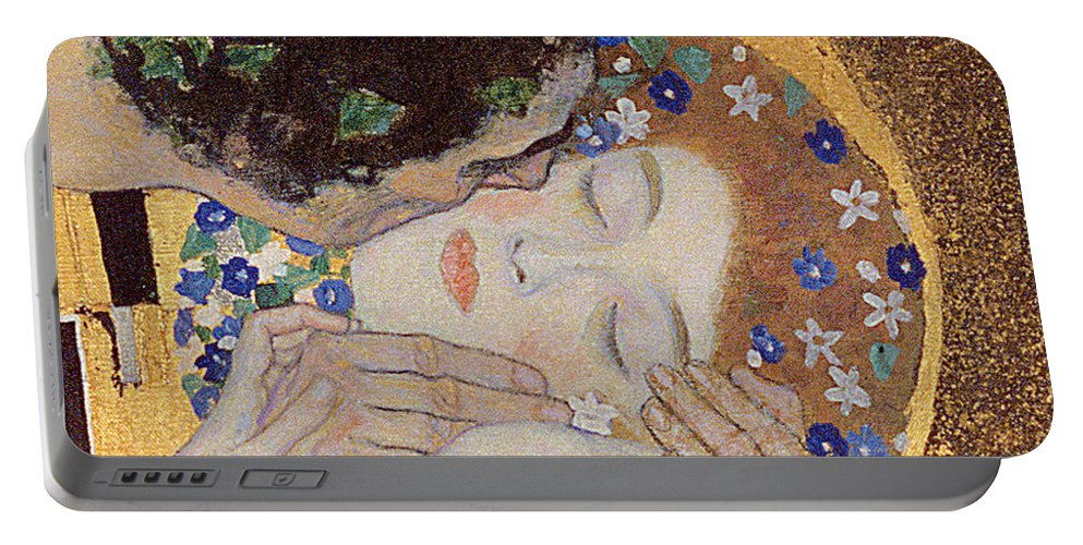 Klimt Portable Battery Charger featuring the painting The Kiss by Gustav Klimt