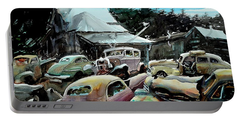 Cars Portable Battery Charger featuring the painting The Last Stand by Ron Morrison