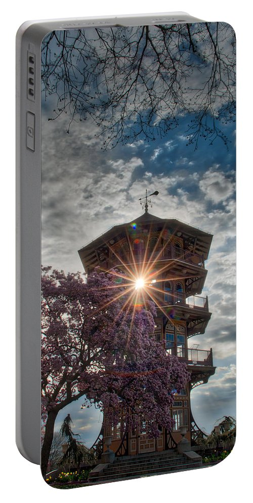 American Kiwi Photo Portable Battery Charger featuring the photograph The Light Through The Pagoda by Mark Dodd