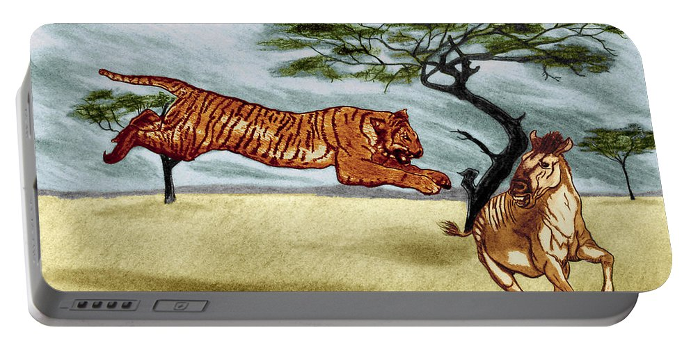 The Lunge Portable Battery Charger featuring the drawing The Lunge by Peter Piatt