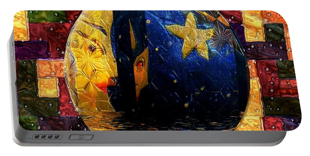 Moon Portable Battery Charger featuring the painting The Moon Has A Bath by RC DeWinter