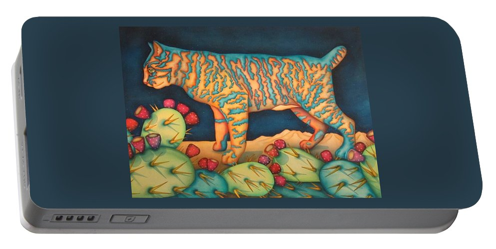 Cat Portable Battery Charger featuring the painting The Moon The Mountains Cacti A Cat by Jeniffer Stapher-Thomas