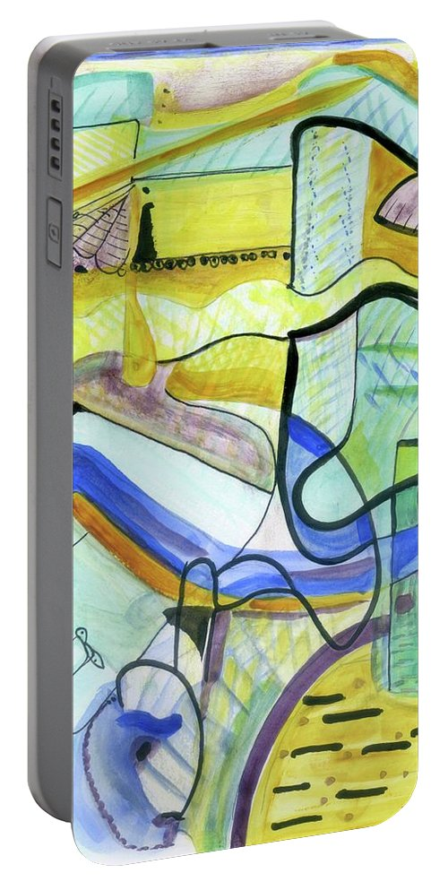 Wall Art Original Abstract Paintings Portable Battery Charger featuring the painting The Morning Light by Stephen Lucas