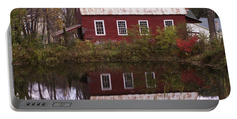 Scenic Portable Battery Charger featuring the photograph The Old Mill House by Nancy Griswold