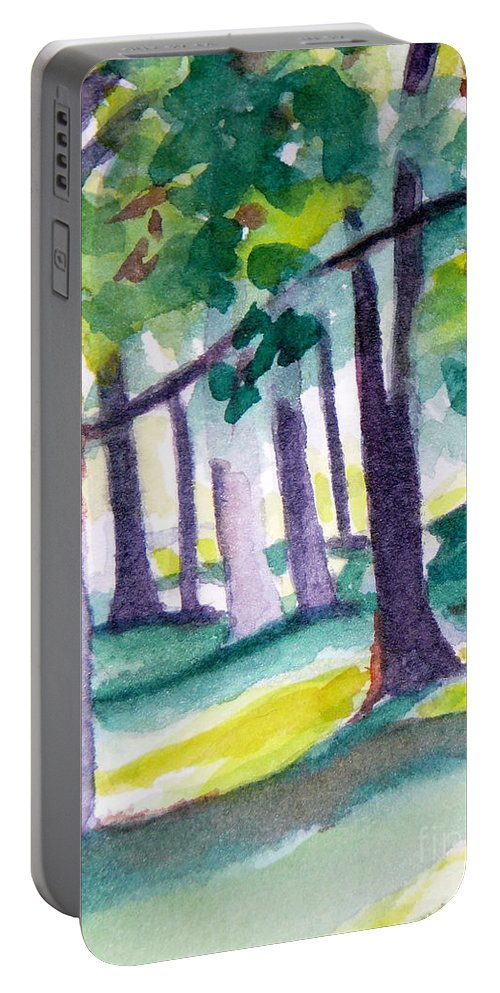 Nature Portable Battery Charger featuring the painting The Perfect Day by Jan Bennicoff