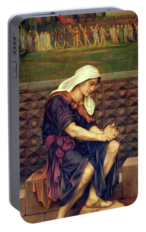 Evelyn De Morgan Portable Battery Charger featuring the painting The Poor Man Who Saved The City 1 by Evelyn De Morgan