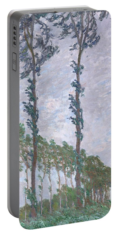 Claude Monet Portable Battery Charger featuring the painting The Poplars by Claude Monet