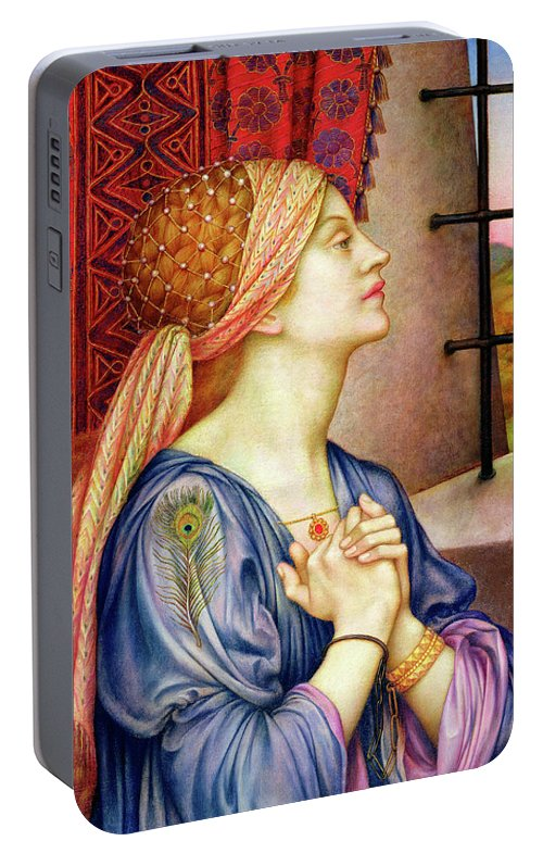 Evelyn De Morgan Portable Battery Charger featuring the painting The Prisoner 2 by Evelyn De Morgan