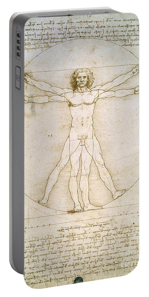 The Portable Battery Charger featuring the drawing The Proportions Of The Human Figure by Leonardo da Vinci