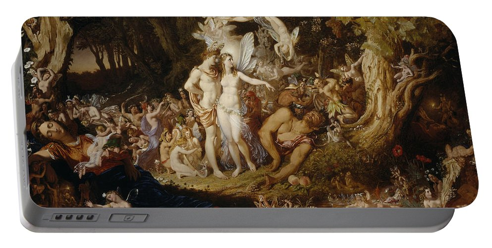 Sir Portable Battery Charger featuring the painting The Reconciliation Of Oberon And Titania by Sir Joseph Noel Paton