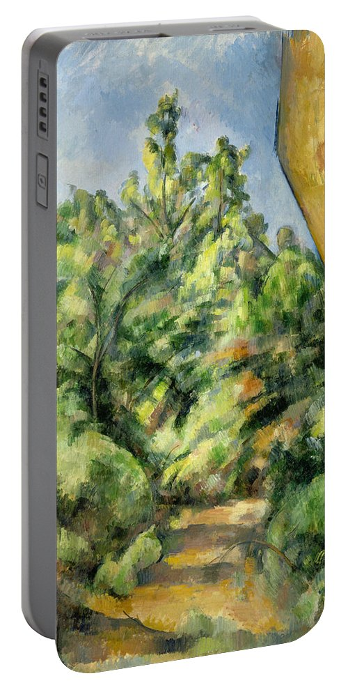 Europe Portable Battery Charger featuring the painting The Red Rock by Paul Cezanne