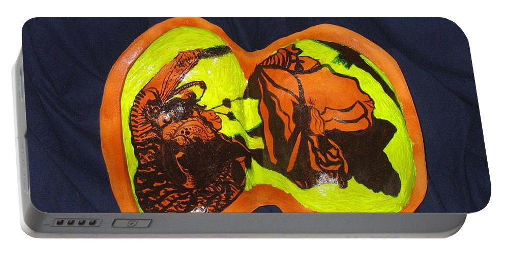 Jesus Portable Battery Charger featuring the sculpture The Road To Bethlehem by Gloria Ssali