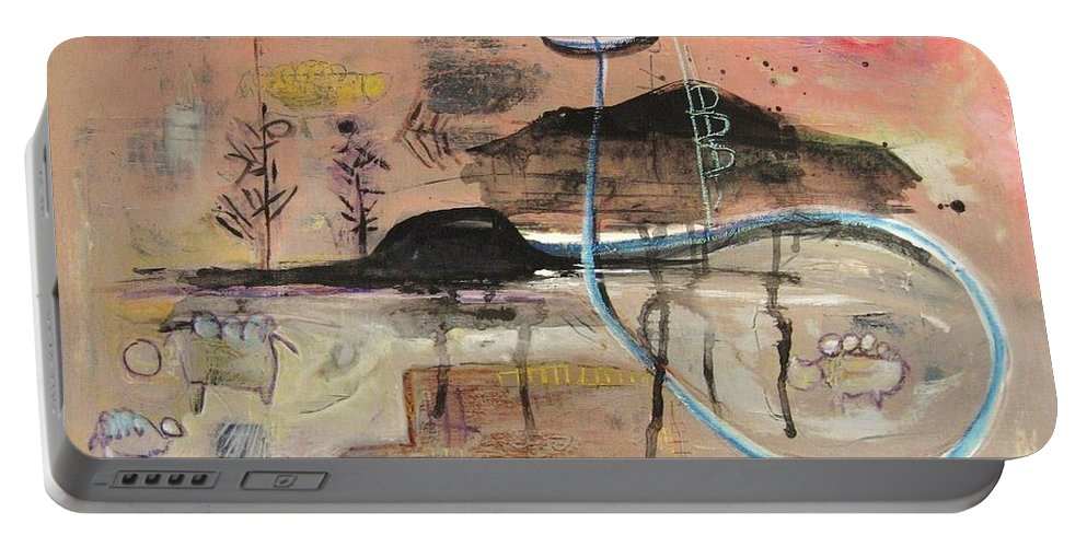 Acrylic Paper Canvas Abstract Contemporary Landscape Dusk Twilight Countryside Portable Battery Charger featuring the painting The Tempo Of A Day by Seon-Jeong Kim