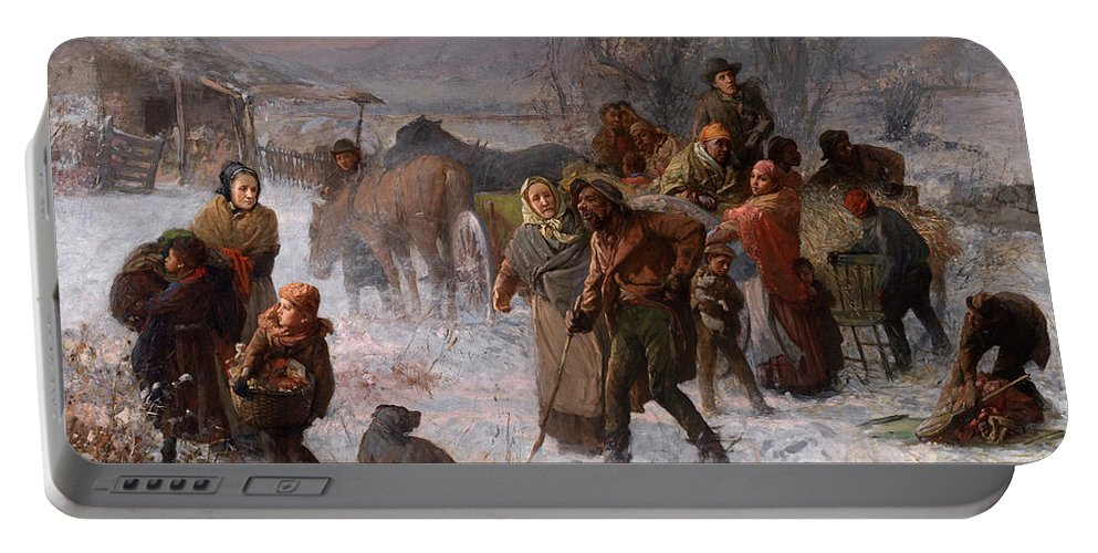 Charles T Webber Portable Battery Charger featuring the painting The Underground Railroad by Charles T Webber