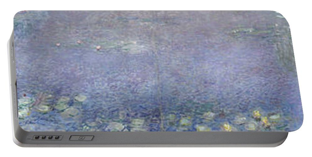 Claude Monet Portable Battery Charger featuring the painting The Water Lilies, Morning by Claude Monet