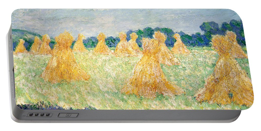 Claude Monet Portable Battery Charger featuring the painting The Young Ladies Of Giverny, Sun Effect by Claude Monet