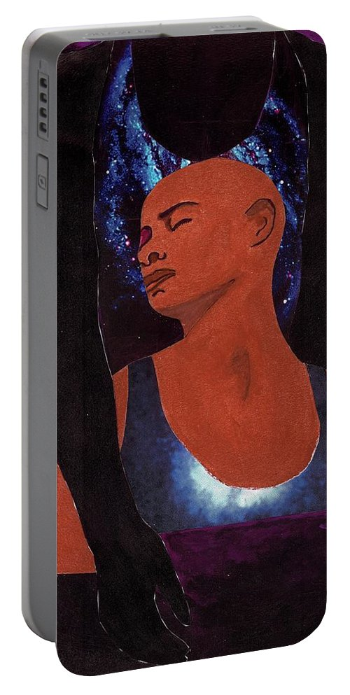 Portable Battery Charger featuring the mixed media Thou Art With Me by Barbara Gadon