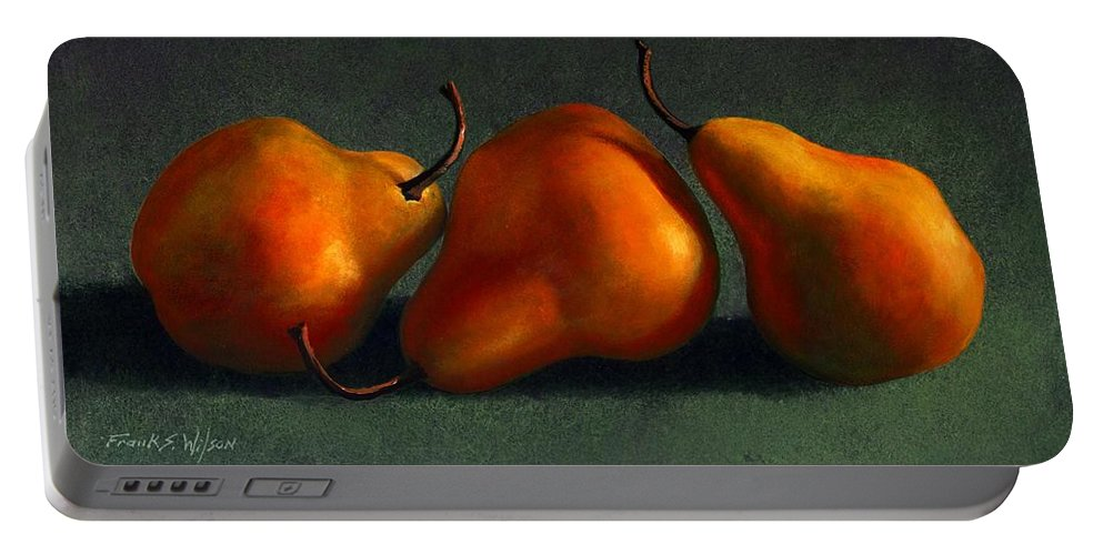 Still Life Portable Battery Charger featuring the painting Three Golden Pears by Frank Wilson