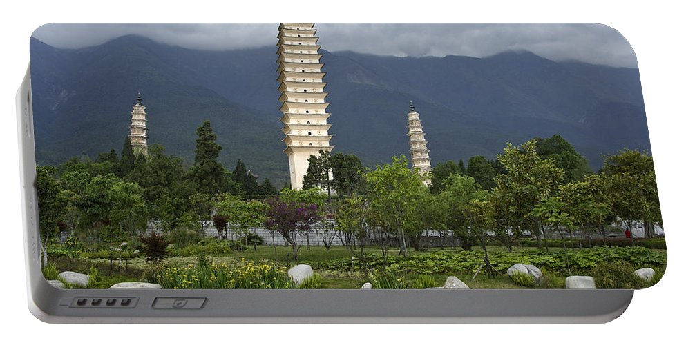 Asia Portable Battery Charger featuring the photograph Three Pagodas Of Dali by Michele Burgess