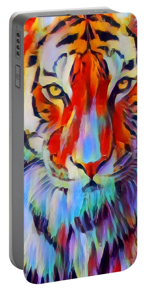 Tiger Portable Battery Charger featuring the painting Tiger by Chris Butler