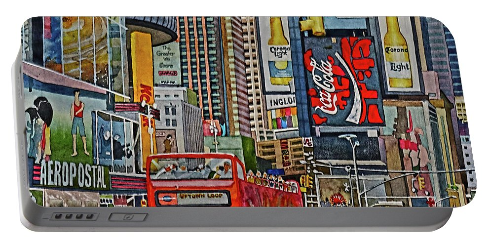 Taxis Portable Battery Charger featuring the painting Times Square by Andre Salvador