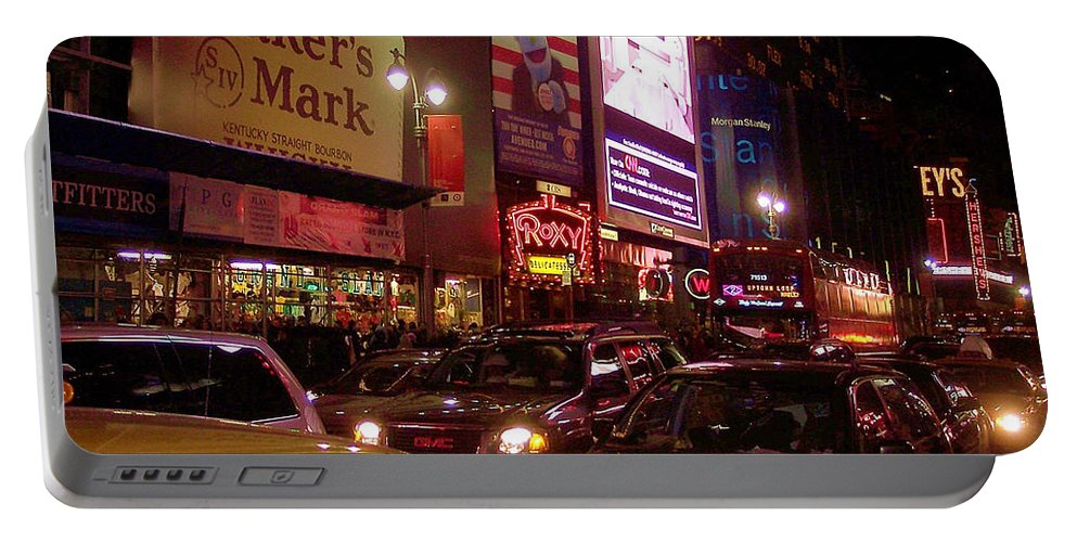 New York Portable Battery Charger featuring the photograph Times Square Night by Debbi Granruth