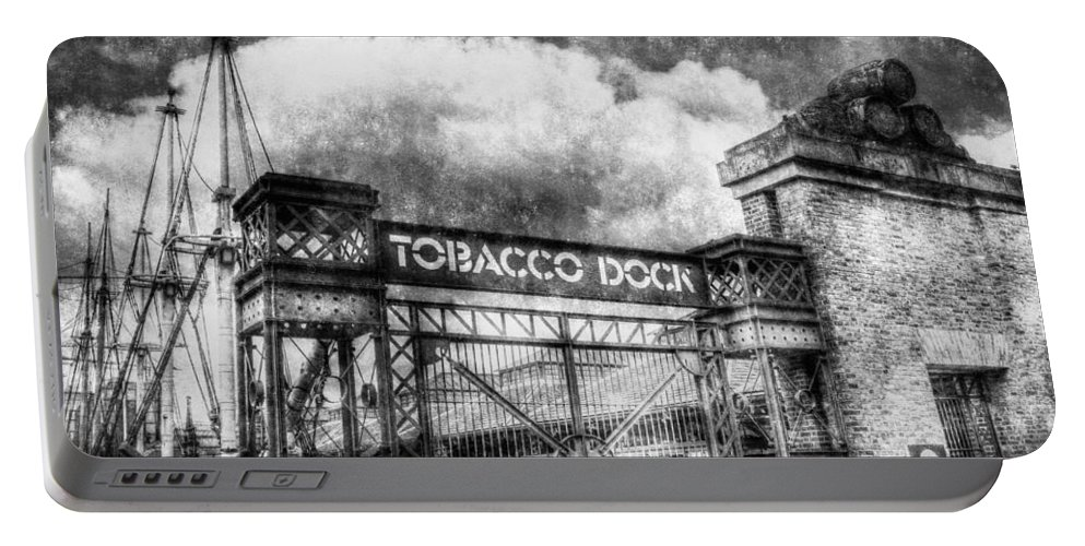 Tobacco Dock Portable Battery Charger featuring the photograph Tobaco Dock London Vintage by David Pyatt